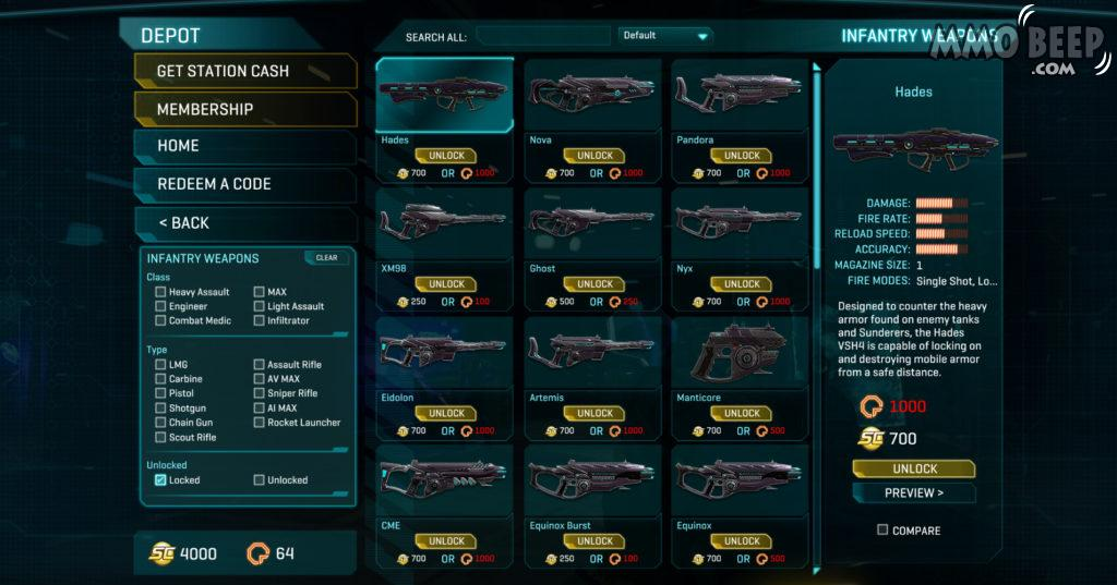 PlanetSide Cash Shop