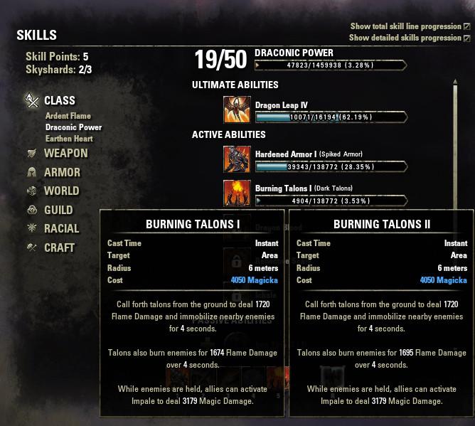 Elder Scrolls Online Character Skills